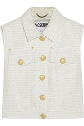 Moschino Cropped Boucle Tweed Vest White