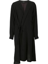 Y's String Detail Oversized Coat Black