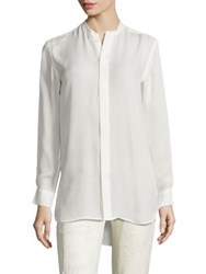 Polo Ralph Lauren Banded Collar Silk Shirt Off White