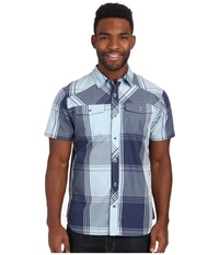 Black Diamond S S Technician Shirt Indigo Aluminum Plaid Men's Short Sleeve Button Up Blue