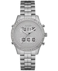 Guess Women's Analog Digital Stainless Steel Bracelet Watch 38Mm U0817l1 A Macy's Exclusive Style Silver