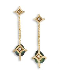 Jordan Alexander Diamond 10Mm Tahitian Pearl And 18K Yellow Gold Caged Drop Earrings Gold Green