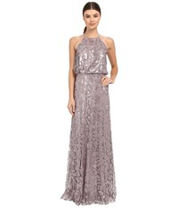 Donna Morgan Halter Sequin Grey Ridge Women's Dress Purple