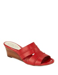 Circa Joan And David Shanna Leather Sandal Wedges Red