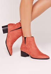 Missguided Pointed Toe Ankle Boot Pink Pink