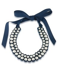 1St And Gorgeous Faux Pearl Bib Necklace White Pearl And Dark Blue