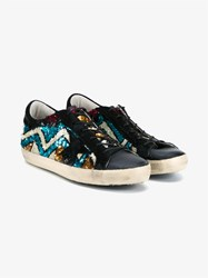 Golden Goose Sequin Embellished Leather Trainers Blue Multi Coloured Navy Blue Golden Black Gr