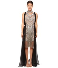 Marchesa Crystal And Antique Silver Jeweled Necklace Cocktail With Bugle Bead Fringe And Black Chiffon Grecian Drape Black Silver Women's Dress