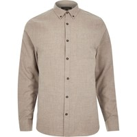 River Island Mens Ecru Flannel Long Sleeve Slim Shirt Beige