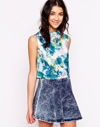 Glamorous Sleeveless Top In Surreal Floral Print Bluesurrealfloral