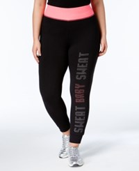 Material Girl Active Plus Size Graphic Leggings Only At Macy's Classic Black