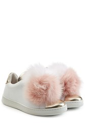 Joshua Sanders Leather Sneakers With Fox Fur White