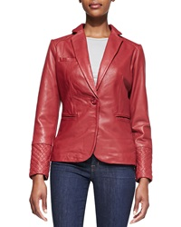 Neiman Marcus One Button Leather Blazer Small 4 6