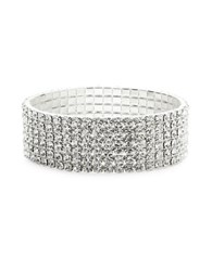 Design Lab Lord And Taylor Multi Row Crystal Stretch Bracelet Silver