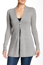 Griffen Long Three Button Cashmere Cardigan Gray