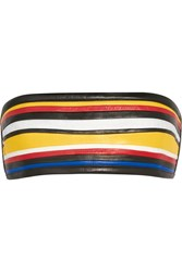 Balmain Color Block Leather Bandeau Bra Black