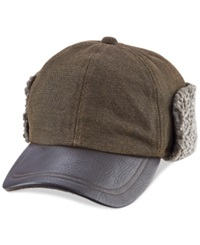 Woolrich Winter Cap With Faux Leather Brim And Fleece Lined Earflaps Brown