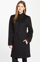 Women's Fleurette Piped Wool And Cashmere Stand Collar Coat Black