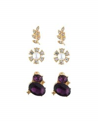 Lydell Nyc Mixed Crystal And Pearl Stud Earring Trio Gold