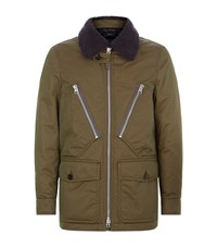 Tom Ford Shearling Collar Parka Male Green