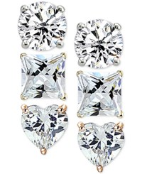 Giani Bernini 3 Pc. Set Cubic Zirconia Stud Earrings In Sterling Silver 18K Gold Plated And 18K Rose Gold Plated Sterling Silver Only At Macy's Tri Tone
