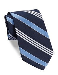 Lauren Ralph Lauren Striped Silk Twill Tie Navy Light Blue