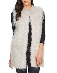 1 State Faux Fur Long Vest Silver Smoke