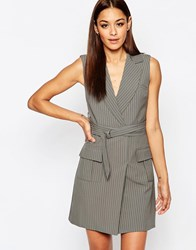 Missguided Pin Stripe Wrap Belt Blazer Dress Gray