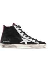 Golden Goose Francy Metallic Leather Paneled Suede Wedge Sneakers Black