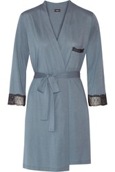 Cosabella Perugia Cotton And Modal Blend Robe Blue