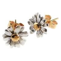 Alex Monroe Classic Daisy Stud Earrings Silver