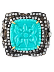 Gemco Turquoise And Diamond Cocktail Ring Metallic
