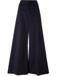 Stella Mccartney Stripe Applique Palazzo Trousers Blue