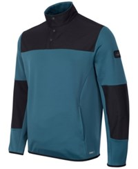 Greg Norman For Tasso Elba Men's Quarter Snap Hydrotech Colorblocked Jacket Only At Macy's Dragonfly Blue