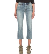Free People Cropped Mid Rise Jeans Denim Blue
