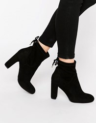 Carvela Pacey Tie Up Heeled Ankle Boots Black Suedette