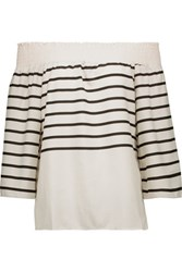 W118 By Walter Baker Sammy Off The Shoulder Striped Crepe De Chine Top Ivory