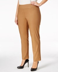 Charter Club Plus Size Cambridge Tummy Control Pull On Pants Only At Macy's Salty Nut