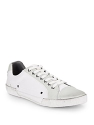 Saks Fifth Avenue Gray Canvas And Leather Cap Toe Sneakers White