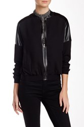 Fate Faux Leather Contrast Jacket Black