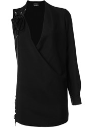 Anthony Vaccarello One Sleeve Lace Up Dress Black