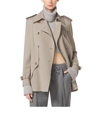 Michael Kors Wool Gabardine Trench Cape
