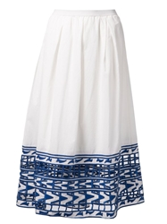 Sea Long Embroidered Skirt White
