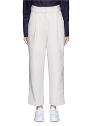 Ffixxed Studios Pleated Wide Leg Felted Wool Trousers White