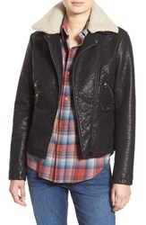 Steve Madden Women's Faux Leather Moto Jacket With Faux Shearling Collar Black