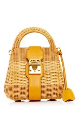 Mark Cross Sunflower Pebble Grain Leather And Rattan Manray Mini Satchel Yellow