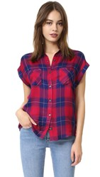 Rails Britt Short Sleeve Button Down Ruby Navy Check