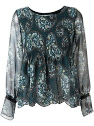 See By Chloe Paisley Print Scalloped Blouse Green