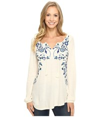 Lucky Brand Embroidered Peasant Top White Ground Women's Clothing