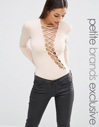Naanaa Petite Extreme Lace Up Long Sleeve Body Nude Beige